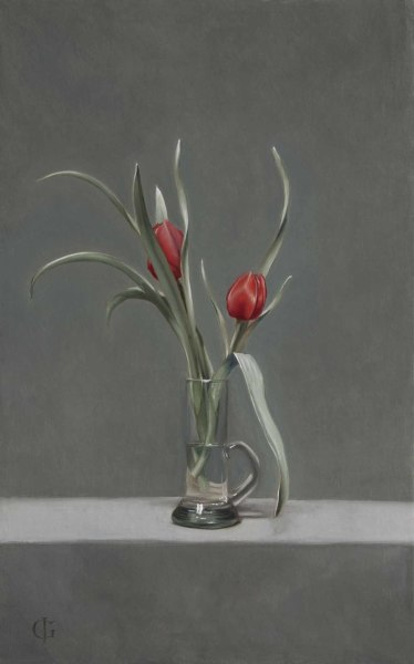 James Gillick, Red Tulips (Tulipa linifolia) in a Cylindrical Vase