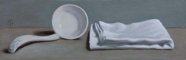 James Gillick, Porcelain Spoon & Linen Napkin, 2015