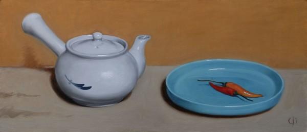 James Gillick, Chinese Teapot, Chillies & Ruskin Dish
