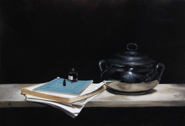 James Gillick, Silver Pot, Paper, Ink and Pen
