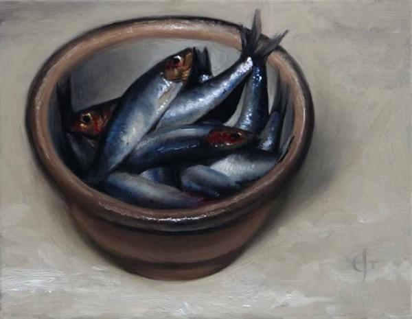 James Gillick, Sprats in a Stoneware Bowl