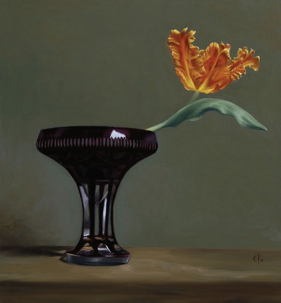James Gillick, Parrot Tulip in a Ruby Glass Vase, 2015