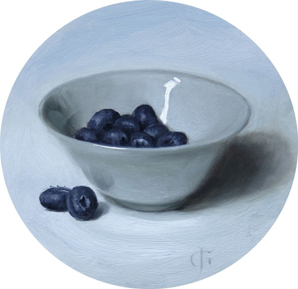 James Gillick, Blueberries in a White Bowl, 2015