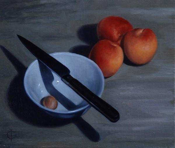 James Gillick, Bowl, Knife and Nectarines