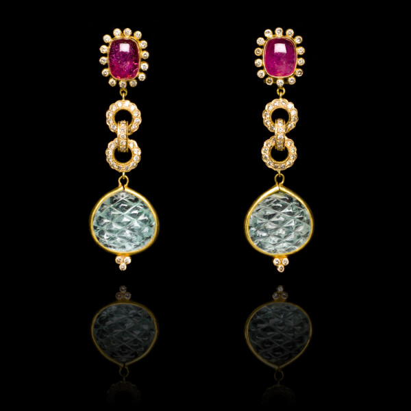Diamond, Rubellite and Aquamarine Earrings