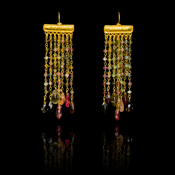 Tourmaline and Gold Rain Drop Earrings