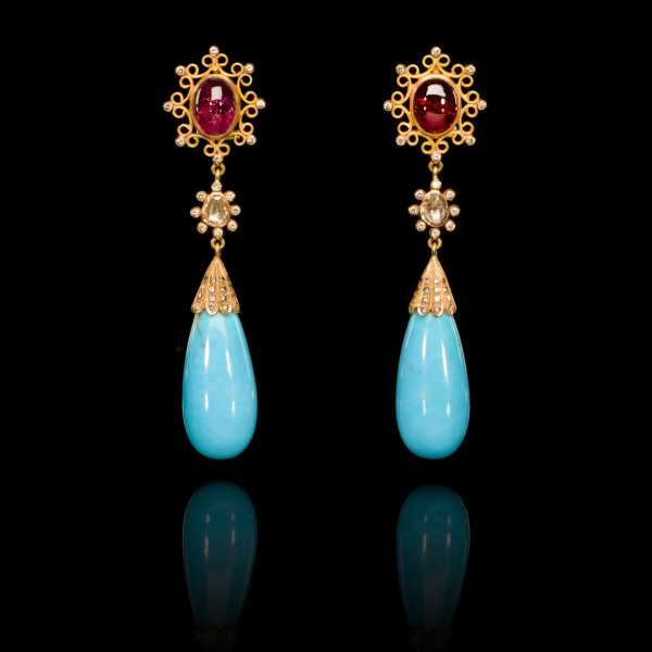 Diamond, Rubellite and Turquoise Drop Earrings
