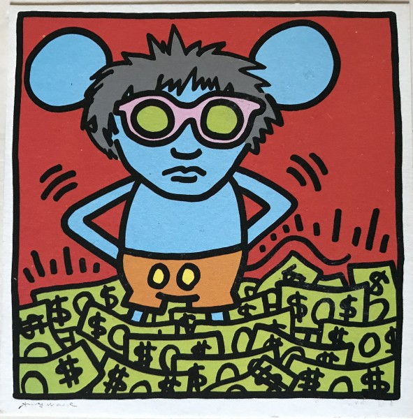 Keith Haring, Andy Mouse promo card. Signed., 1986