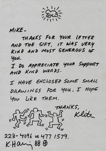 Keith Haring, Letter with dancing men, 1988