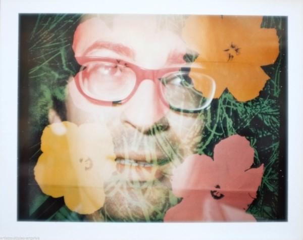 Brigid Polk, Unique Andy Warhol flower double exposure polaroid portrait., 1970