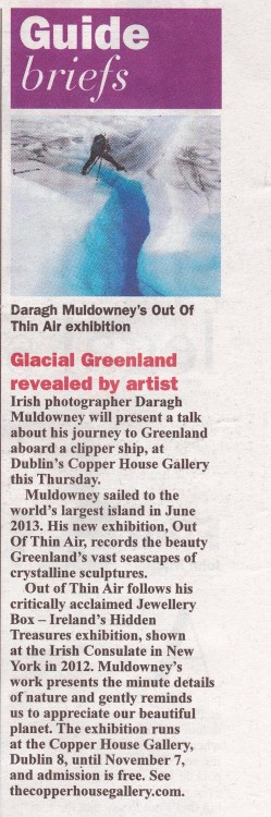 Sunday Business Post features Out of Thin Air by Daragh Muldowney