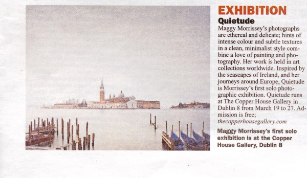 The Sunday Business Post feature Quietude, a photographic exhibition by Maggy Morrissey