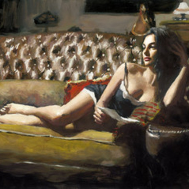 Fabian Perez - Study For Saba With Letter V, 2017