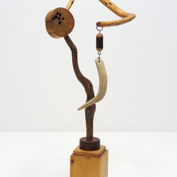 "Danville Chadbourne, The Calculated Risk of Incongruity (2008-14), wood, antler, metal, beads, 37″ h. x 15″ w. x 14½"" d."