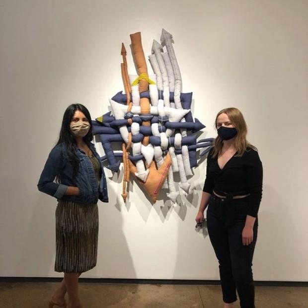 Martha Elena's 'Blessed Little Goose,' 2020, bedsheets, acrylic yarn, beads, 52 x 47 x 7