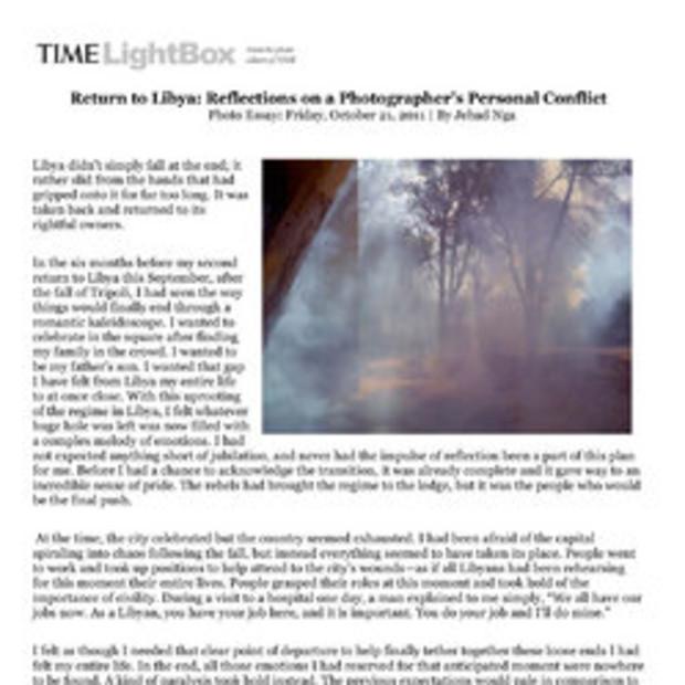 Photo Essay: Time Magazine   By Jehad Nga