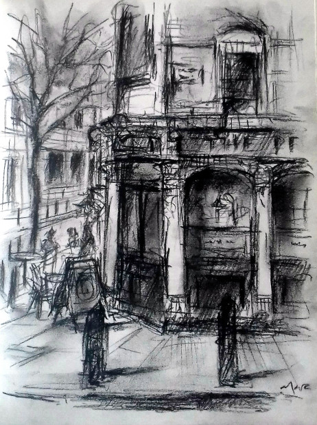 Marc Gooderham, The Corner – Sketch in Bloomsbury (The Perseverance Pub), 2018