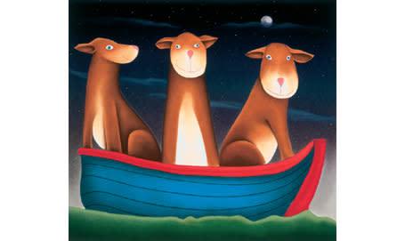 Mackenzie Thorpe, Three Dogs In A Boat