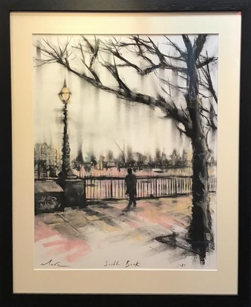 Marc Gooderham South Bank - Pastel, 2019 Original Pastel On Paper Framed Size: 28 1/8 x 23 1/8 in Framed Size: 71.5 x 58.5 cm