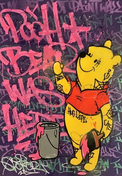 "Opake One Bear Hugs, 2019 Original Mixed Media on Board Framed Size: 19"" x 26"" Framed Size: 48 x 66 cm"