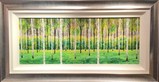 Alex Jawdokimov Emerald Delight, 2019 Original Mixed Media On Board Framed Size: 25 3/4 x 49 5/8 in Framed Size: 65.5 x 126 cm