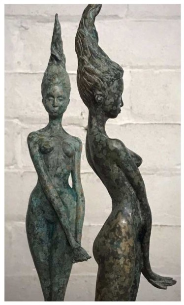 Dan Martin Ondine Solid Bronze Mounted on Polished Concrete 17 3/4 x 2 3/4 x 3 1/8 in 45 x 7 x 8 cm