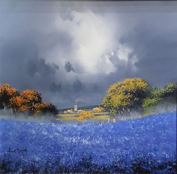 Allan Morgan Blue Dip, 2019 Original On Board Framed Size: 23 1/4 x 23 1/4 in Framed Size: 59 x 59 cm