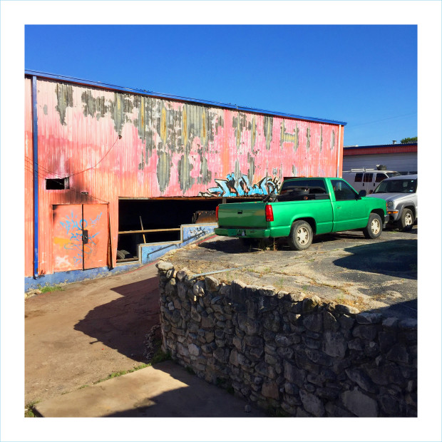 William Greiner, Body Shop With Green Pick Up, Fort Worth TX, 2018