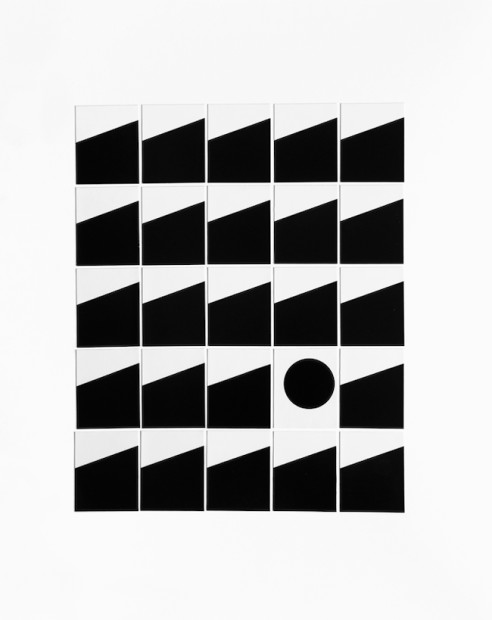 """Joanne Dugan Multiples 25, Grid #19, New York City, 2018 Silver gelatin photogram print collage 25 single 2 x 2.5"""" silver gelatin prints Handmade and mounted on 16 x 20"""" museum board Edition of three variants (#2)"""
