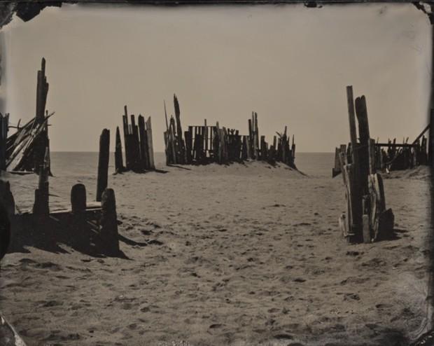 Joni Sternbach 04.05.20 #8 Beach Barrier Ambrotype 10.2 x 12.7 cm 4 x 5 in