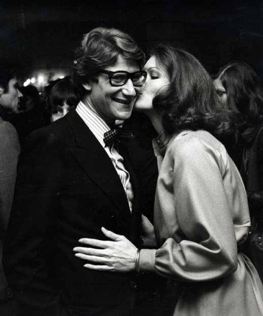 Ron Galella, Yves Saint Laurent and Lois Chiles attend Yves Saint Laurent Fashion Show at the Pierre Hotel, New York, November 5, 1974