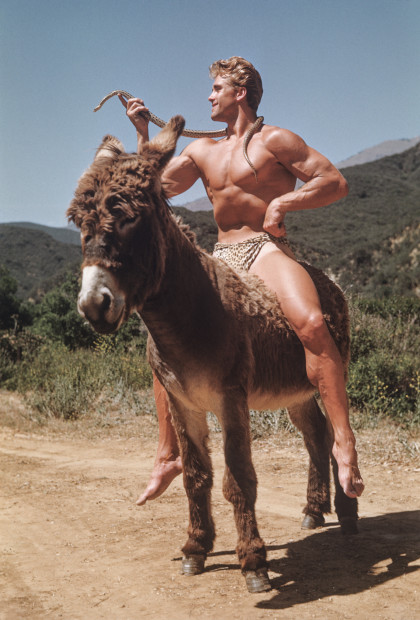 Bob Mizer, Ed Holovchik aka Ed Fury (with snake on mule), Southern California, 1951