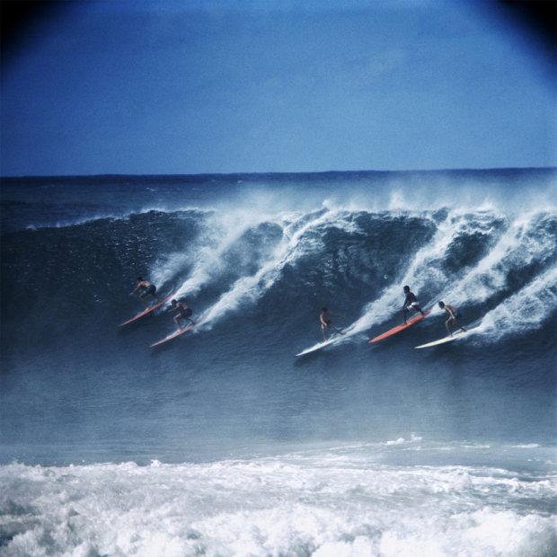 LeRoy Grannis, Crowded Wave, Waimea Bay, 1966