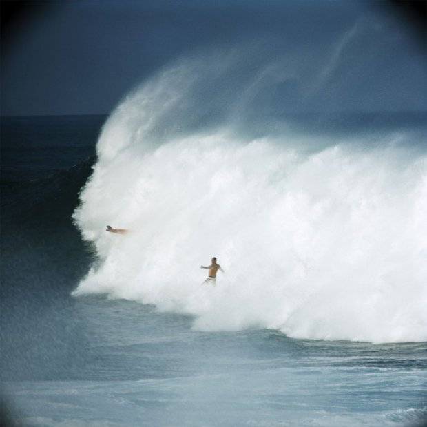 LeRoy Grannis, Bobby Cloutier and Greg Noll, Waimea Bay, 1966