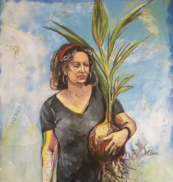 E. Tilly Strauss, Self Portrait with Coconut, 2016