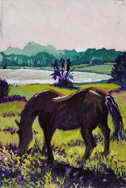 E. Tilly Strauss, Horse grazing at Dawn, 2017