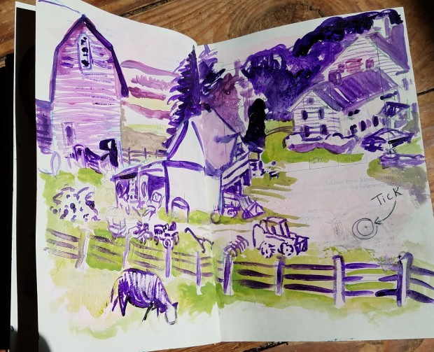 E. Tilly Strauss, Home Farm Sketch with Tick, 2017