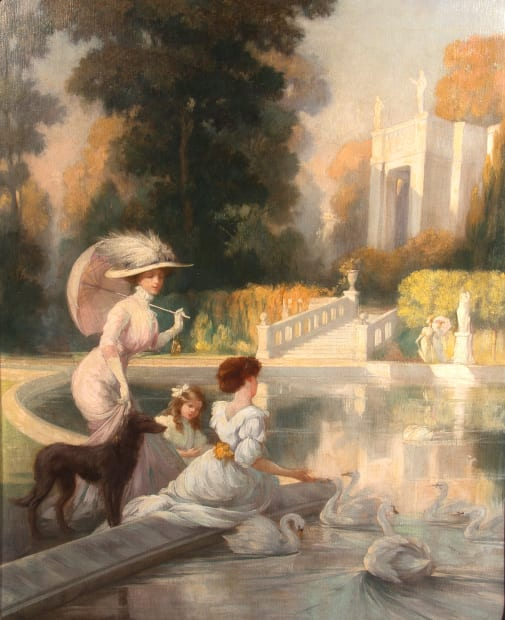 Elegant Figures by Ornamental Pond