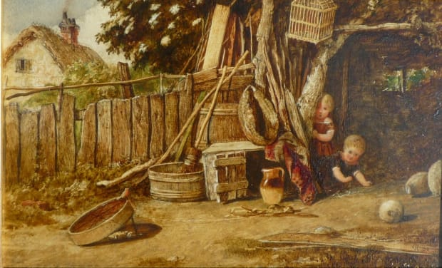 Pair of Paintings of Children Playing