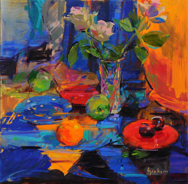 Still life with flower and fruits