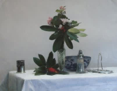 Rhododendron with blue, white & silver II
