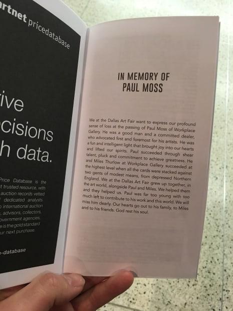 In Memory of Paul Moss, Dallas Art Fair - Catalogue Dedication