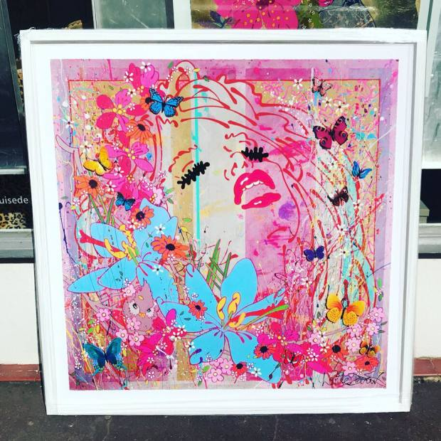 Louise Dear  Frisson...Blush, 2018  Mixed Media work on paper. Printed image, gloss paint, gold leaf, glitter, Swarovski crystals and 3D elements in a White Frame  Framed Size 45 1/4 x 45 1/4 in  Framed Size 115 x 115 cm