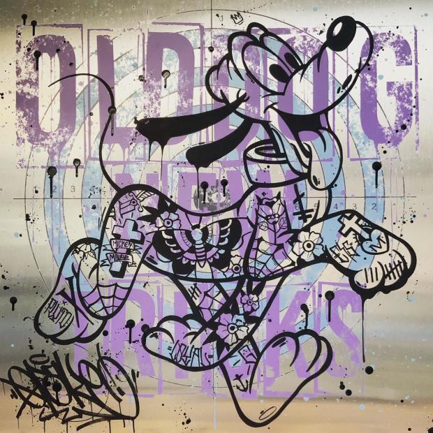 """Opake One Old Dog New Tricks , 2020 Original painted onto brushed aluminium Aluminium Size: 31.5"""" x 31.5"""" Aluminium Size: 80 x 80cm"""