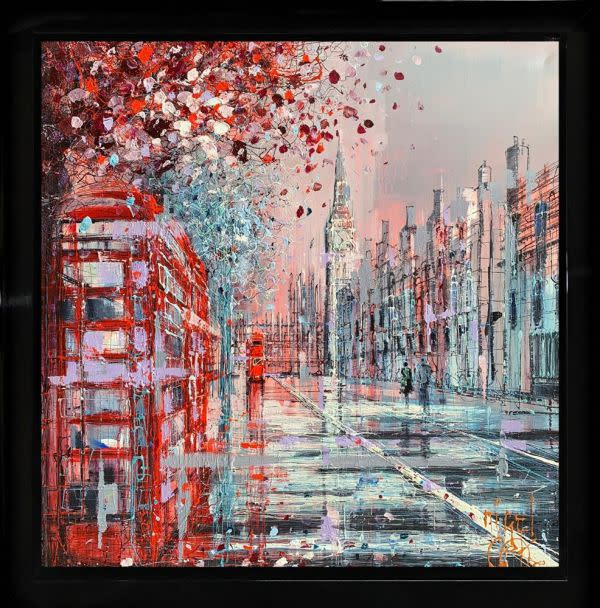 Nigel Cooke Westminster Rouge, 2019 Mixed Media On Canvas Framed Size 33 1/2 x 33 1/2 in Framed Size 85 x 85 cm