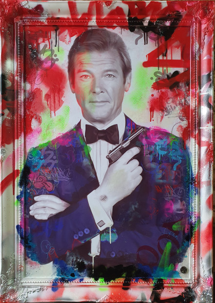 "Dan Pearce Bond - Shaken Not Stirred, 2020 Original Mixed Media in hand finished frame Framed Size: 39 3/8"" x 29 1/2"" Framed Size: 100 x 75 cm"