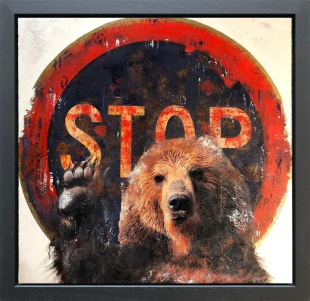 Linda Charles  Bearly Up, 2018  An Original Mixed Media Collage on Panel, Textured with high lacquer Finish  Framed Size 39 3/4 x 39 3/4 in  Framed Size 101 x 101 cm
