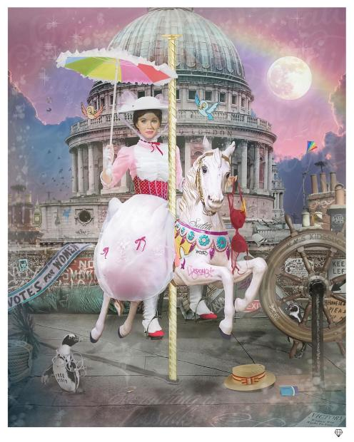 """JJ Adams Everything is Possible (Mary Poppins II) , 2021 Signed Limited Edition Print Black Or White Frame Framed Size : 41.5"""" x 35.5"""" Edition of 145"""