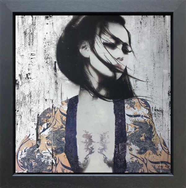 Linda Charles Kanako, 2018 Original Mixed Media on Board Collage with a textured with a high lacquer finish Framed Size: 72 x 72cm Series: Geisher Series