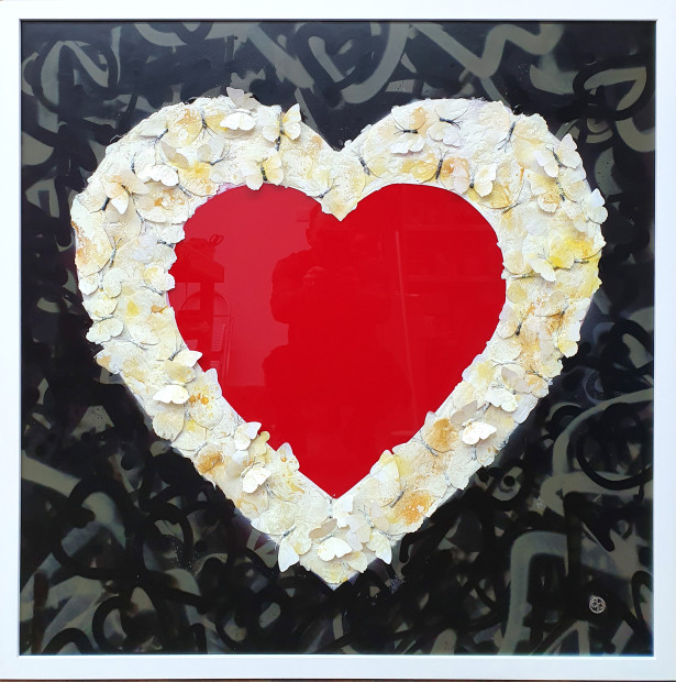 Dan Pearce One Love, 2020 Original Mixed Media Butterfly's set in a heart shape with surround graffiti spray and all set in resin Framed Size: 39 3/8 x 39 3/8 in Framed Size: 100 x 100 cm